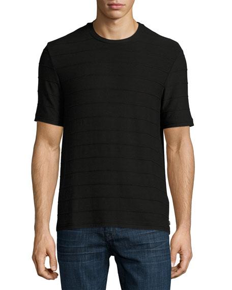 Armani Collezioni Textured-Stripe Crewneck T-Shirt, Black
