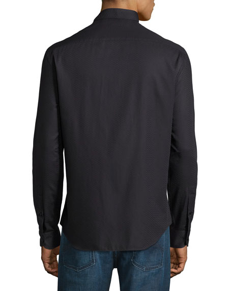 Armani Collezioni Tonal-Textured Long-Sleeve Shirt, Black