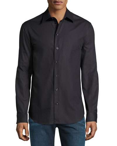 Tonal-Textured Long-Sleeve Shirt, Black