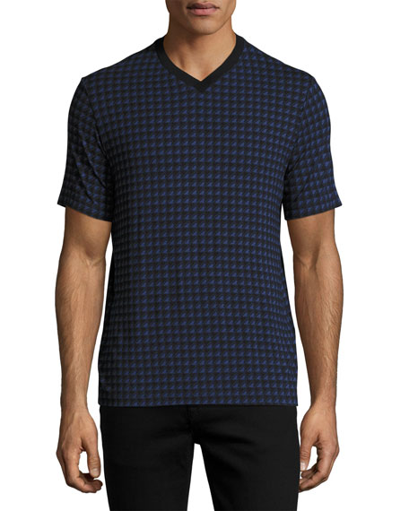 Armani Collezioni Triangle-Box V-Neck T-Shirt, Multicolor/Blue