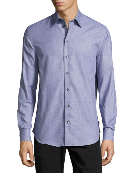 Armani Collezioni Tonal Mini-Check Dress Shirt