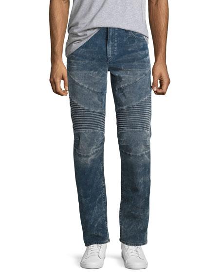 True Religion Geno Moto Straight-Leg Jeans, Azur Reef
