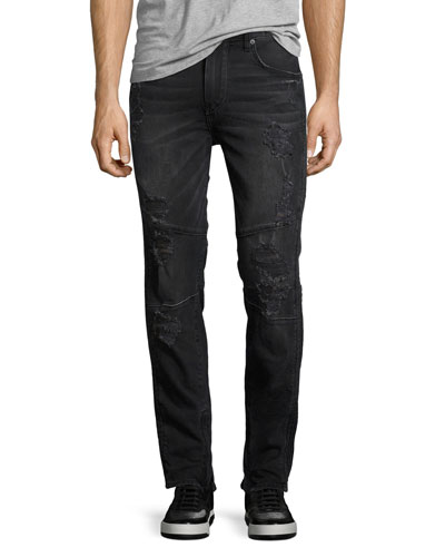 Racer Distressed Slim Tapered Jeans, Worn Nights