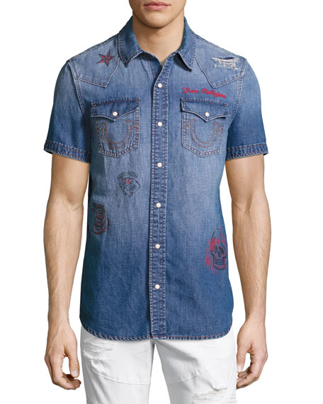 True Religion Printed Short-Sleeve Denim Western Shirt, Blue