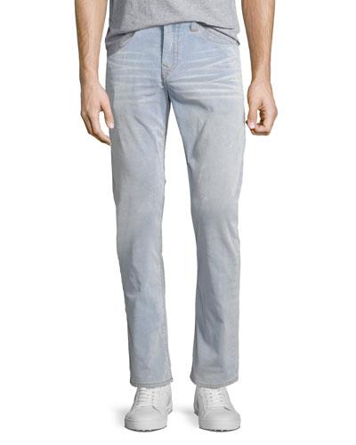 Geno Corduroy Slim-Straight Pants, Bleached Indigo