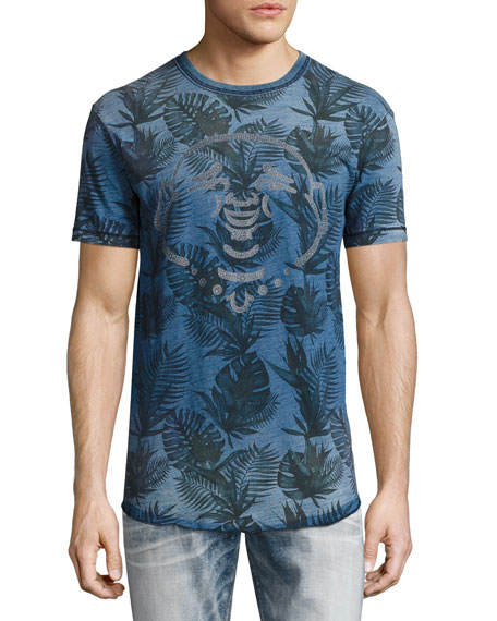 True Religion Buddha Tropical Palm-Print T-Shirt, Indigo