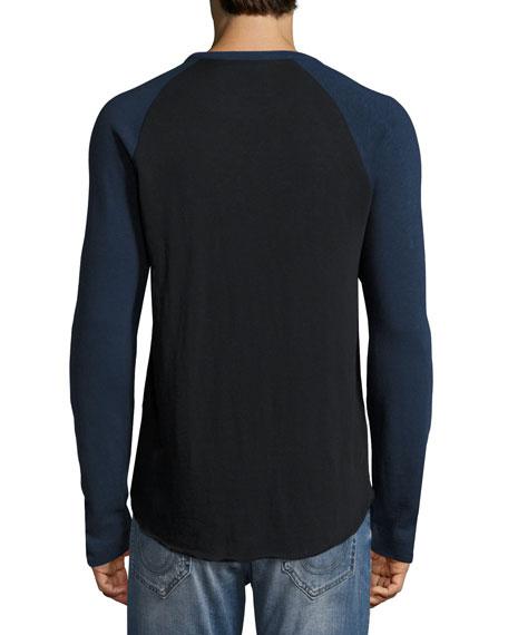 Embroidered Dragon-Dog Baseball T-Shirt, Black