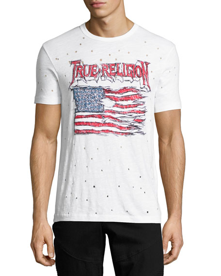 Land of the Free Distressed Flag T-Shirt, White