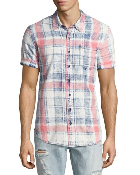 Plaid Short-Sleeve Denim Shirt, Indigo