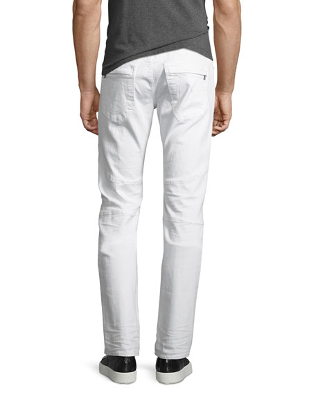 Rocco Distressed Moto Skinny Jeans, Worn Cruiser (White)