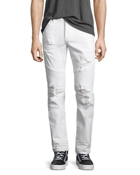 True Religion Rocco Distressed Moto Skinny Jeans, Worn