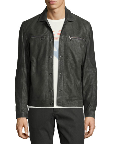 John Varvatos Star USA Leather Trucker Jacket, Dark