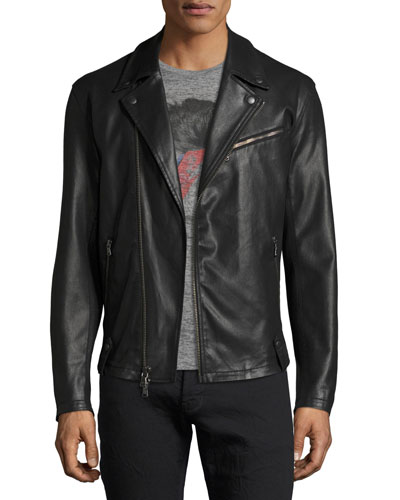 Coated Slim Moto Jacket, Black