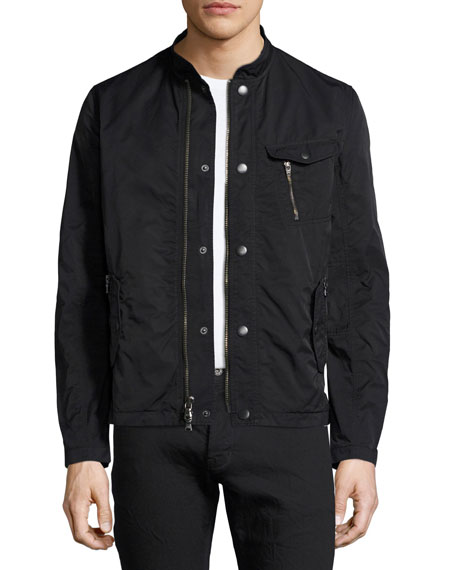 Snap-Front Bomber Jacket, Black