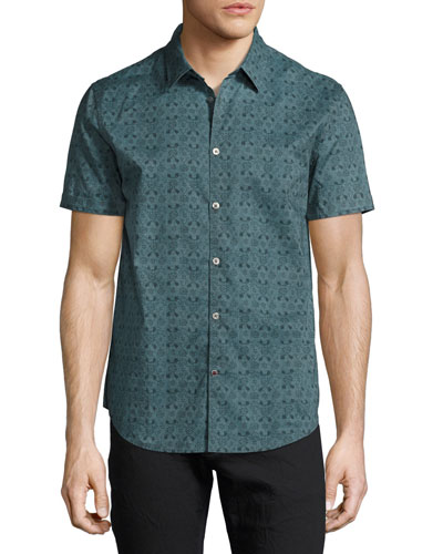 Wallpaper-Print Short-Sleeve Shirt, Medium Gray