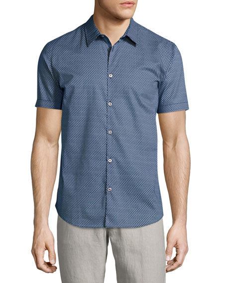 John Varvatos Star USA Micro-Print Short-Sleeve Sport Shirt,