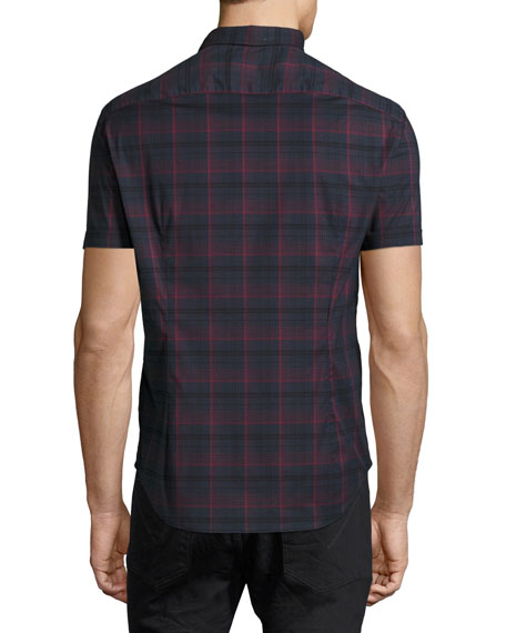 Plaid Short-Sleeve Sport Shirt, Navy/Red