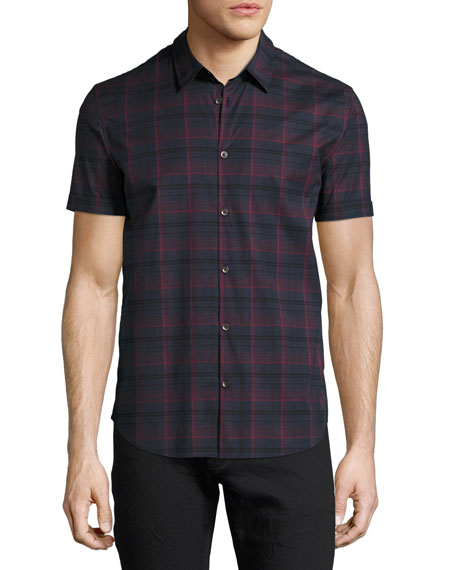 John Varvatos Star USA Plaid Short-Sleeve Sport Shirt,