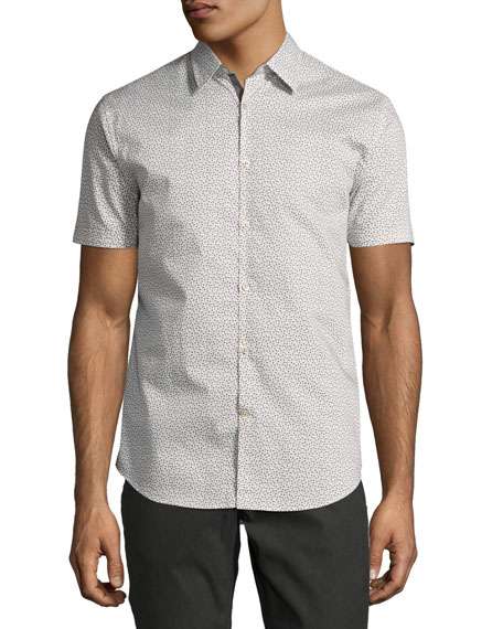 John Varvatos Star USA Mini-Print Sport Shirt, Gray/White