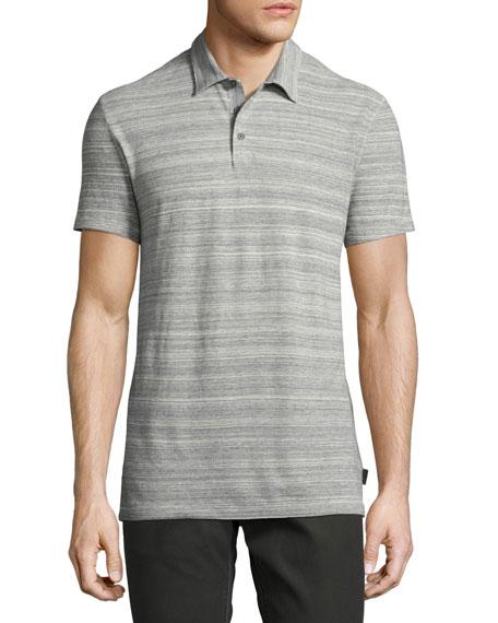 John Varvatos Star USA Mélange-Stripe Polo Shirt, Gray