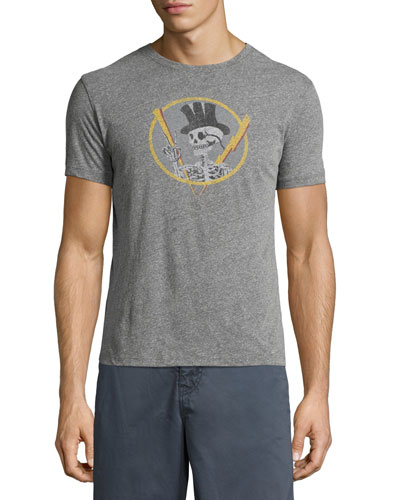 Top Hat Skull Graphic T-Shirt, Gray