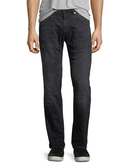 Military Straight-Leg Moto Jeans