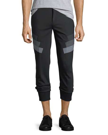Neil Barrett Stretch-Wool Jogger Pants w/ Military Stripes
