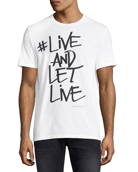 Neil Barrett Live & Let Live Cotton T-Shirt