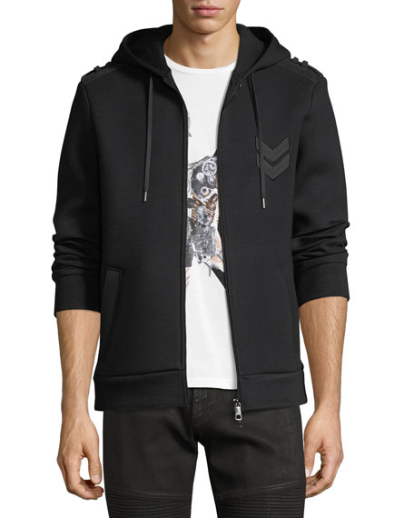 Neil Barrett Military Arrow Zip-Front Sweatshirt Hoodie
