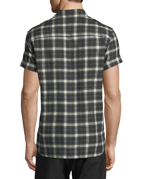 Short-Sleeve Plaid Flannel Button-Down Shirt