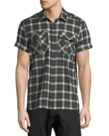 Neil Barrett Short-Sleeve Plaid Flannel Button-Down Shirt