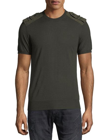 Neil Barrett Crewneck T-Shirt w/ Faux Suede Epaulets