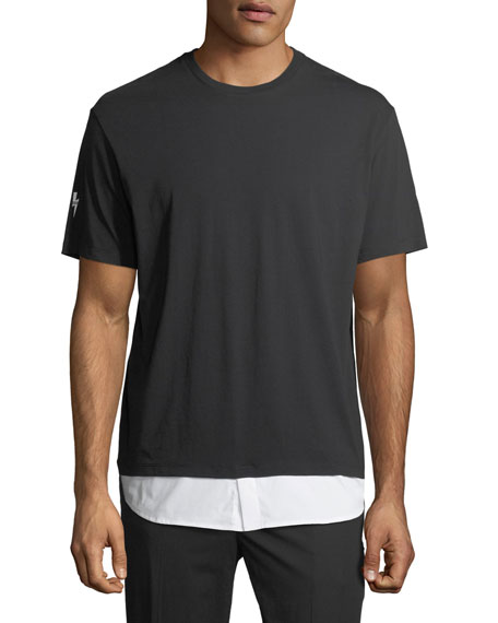 Neil Barrett Cotton T-Shirt with Shirttail Hem