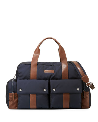 Tech Fabric & Leather Weekender Bag