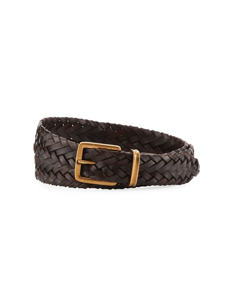 Brunello Cucinelli Men's Woven Calf Leather Belt, Ebony