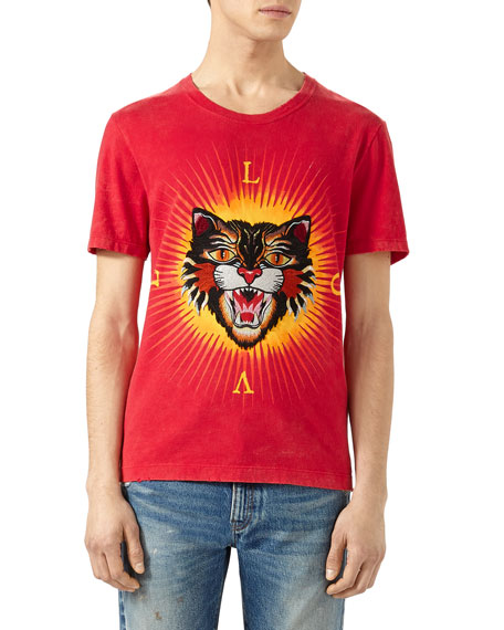 Gucci Cotton T-Shirt with Angry Cat Appliqu??