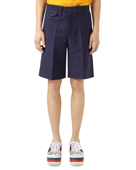 Gucci Washed Cotton Shorts, Blue