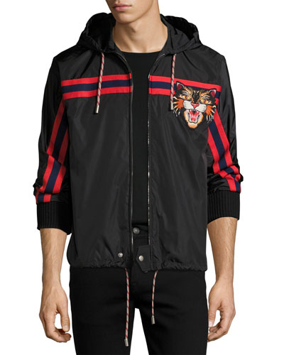 Nylon Jacket with Angry Cat Applique, Black