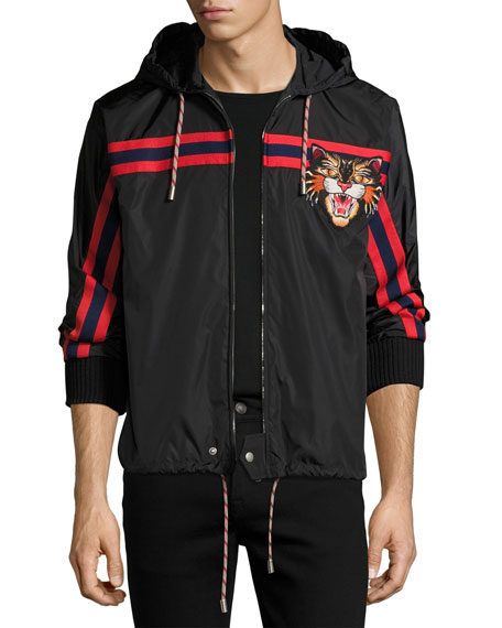 Gucci Nylon Jacket with Angry Cat Applique, Black
