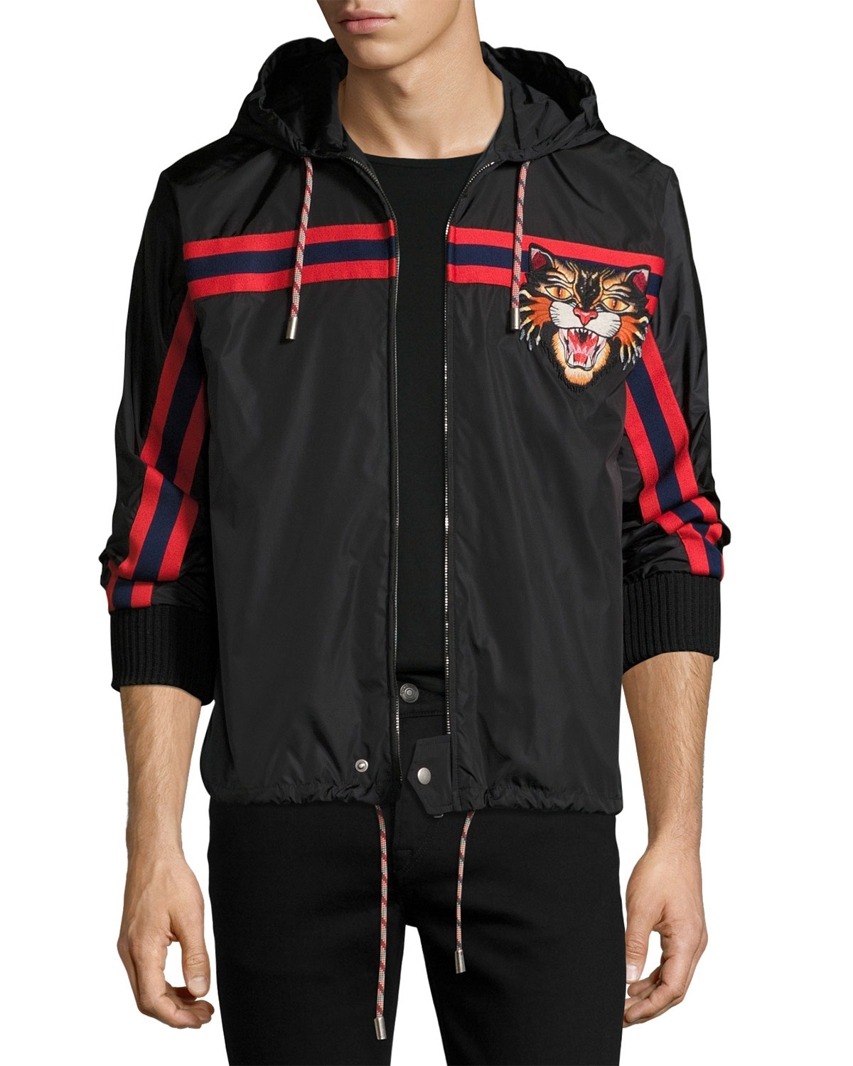 9ca73bba150 Gucci Nylon Jacket with Angry Cat Applique