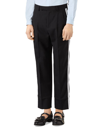 Track-Stripe Wool Trousers, Black