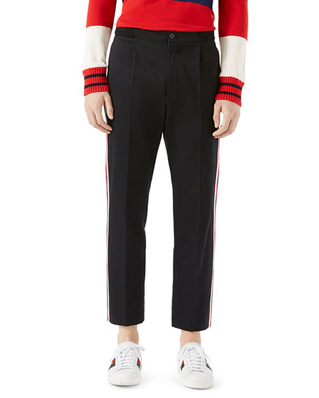 Gucci Cotton Jogging Pants with Sylvie Web, Black