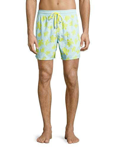 Moorea Flocked Turtle Swim Trunks, Blue