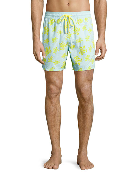 Vilebrequin Moorea Flocked Turtle Swim Trunks, Blue