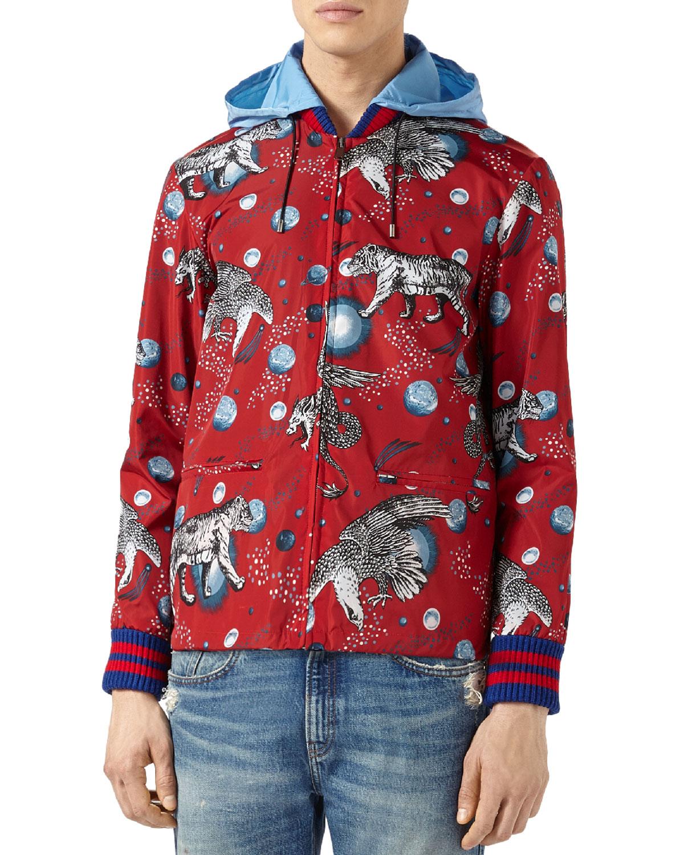 cd2b21ab4 Gucci Space Animals Rain Jacket, Red | Neiman Marcus