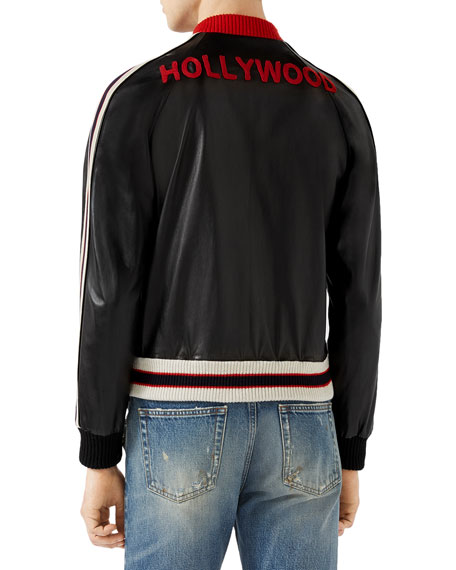 Leather Bomber Jacket with Appliqu&#233