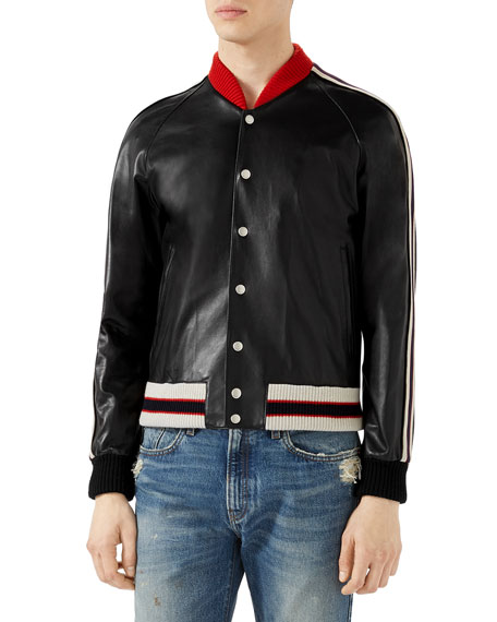 Gucci Leather Bomber Jacket with Appliqu&#233