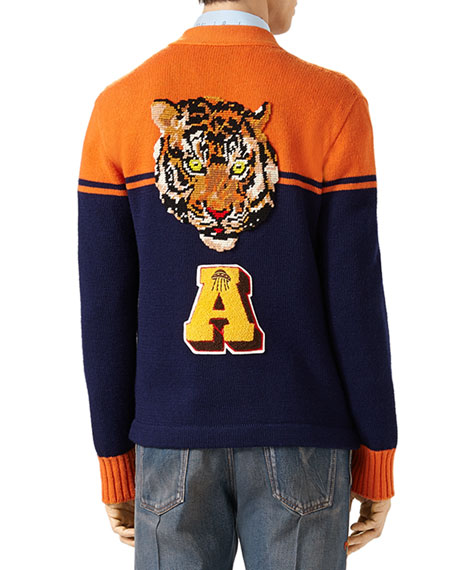 Embroidered Wool College Cardigan