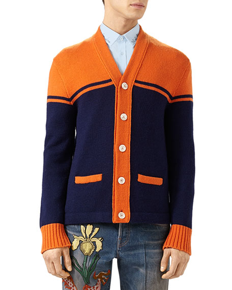 Gucci Embroidered Wool College Cardigan