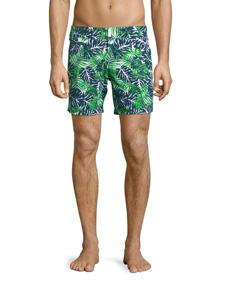 Vilebrequin Madrague Palm Leaves Swim Trunks, White